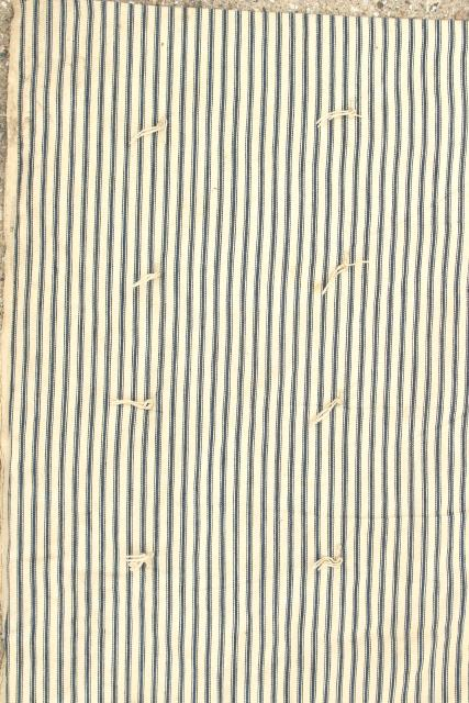vintage indigo blue striped ticking tick bed rolls, grubby rustic primitive country