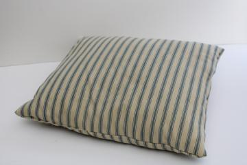 vintage indigo blue ticking striped square feather pillow or bench cushion