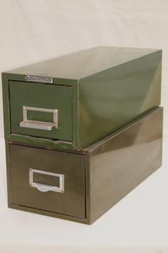 vintage industrial Steel Master card file cabinets, office / library reference drawers