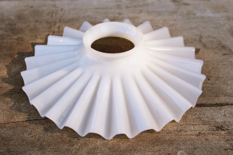 vintage industrial hanging pendant light shade, crimped flat reflector white milk glass