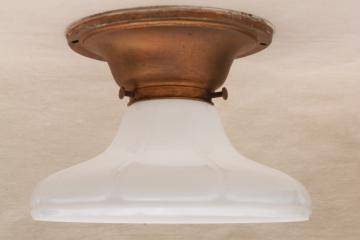 vintage industrial light fixture, flush mount w/ milk glass shade for exposed bulb