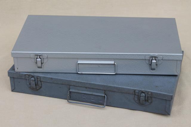 vintage industrial metal file boxes for storage of slides retro