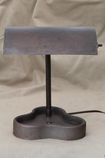 Vintage Industrial Metal Lamp Cloverleaf Desk Tray