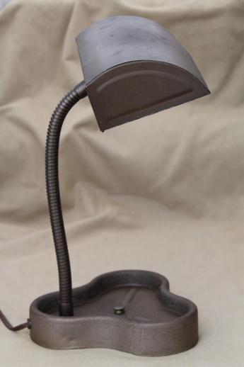 Vintage Industrial Metal Lamp Cloverleaf Desk Tray