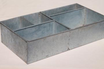 vintage industrial metal parts bin tool box, sorter / organizer for table or wall moun