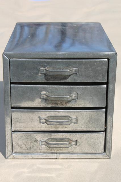 vintage industrial metal parts chest / hardware organizer bin tin box w/ storage drawers & vintage industrial metal parts chest / hardware organizer bin tin ...