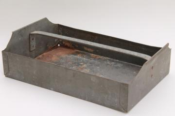 vintage industrial metal tool tote toolbox tray, rusty rustic old paint patina
