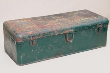 vintage industrial metal toolbox, tool chest for 1950s Hercules IXA tractor engine