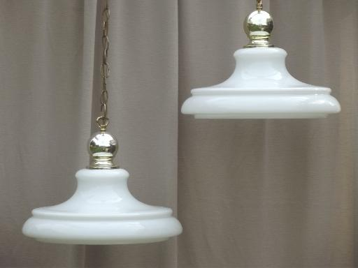 vintage industrial pendant lights w huge milk glass lamp shades