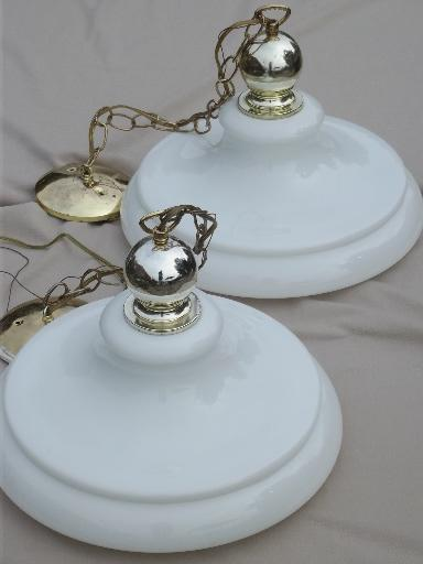 vintage industrial pendant lights w/ huge milk glass lamp shades, farmhouse style