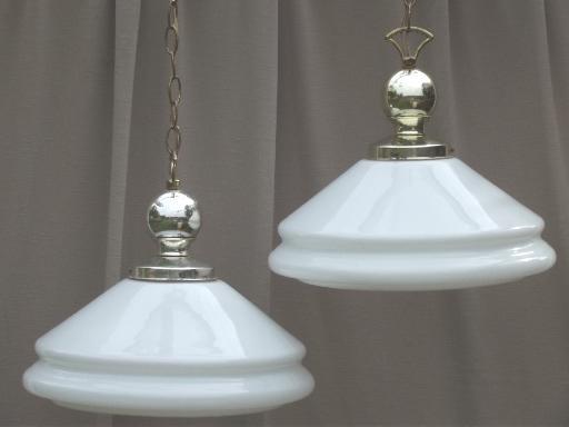 vintage industrial pendant lights w huge milk glass lamp shades