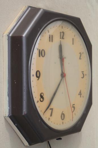 Vintage Industrial Schoolhouse Wall Clock Mid Century