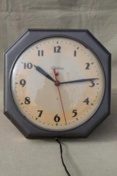vintage industrial schoolhouse wall clock, mid-century modern machine age