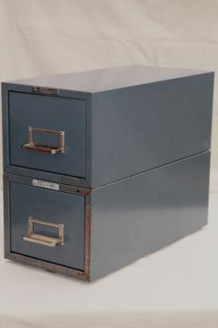 vintage industrial steel case card file cabinets, office / library reference drawers