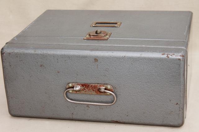 Vintage Industrial Steel File Box, Portable Office File Or Desk Paper  Cabinet