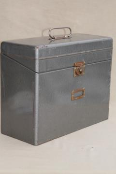 vintage industrial steel file box, portable office file or desk paper cabinet