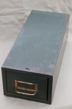 vintage industrial steel file card catalog, machine age index card file box w/ olive drab paint