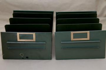 vintage industrial steel file organizer drawers, standing files paper storage boxes