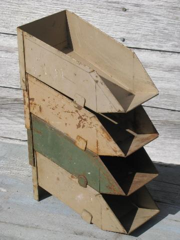 vintage industrial steel parts sorting / storage bins, stacking shop boxes