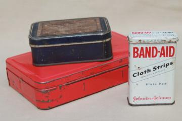 vintage industrial style metal First Aid tins, small metal boxes for bandages etc.