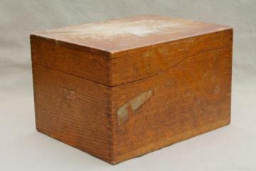 vintage industrial style oak card file box, machine age office / library catalog file