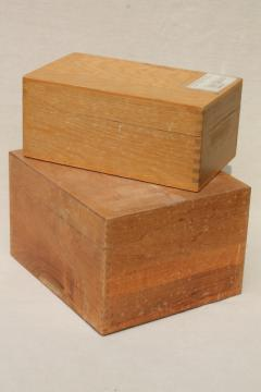 vintage industrial style oak file boxes, old school library desk index card files