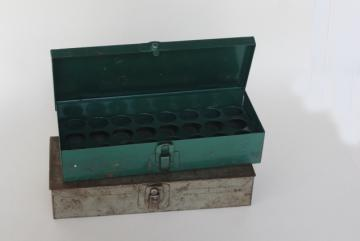 vintage industrial tool boxes for small hardware, Monarch & Delavan parts storage racks