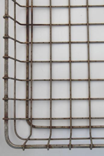 vintage industrial wire basket, flat bread tray shelf for metal shelves