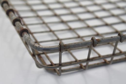 vintage industrial wire basket, flat bread tray shelf for metal shelves