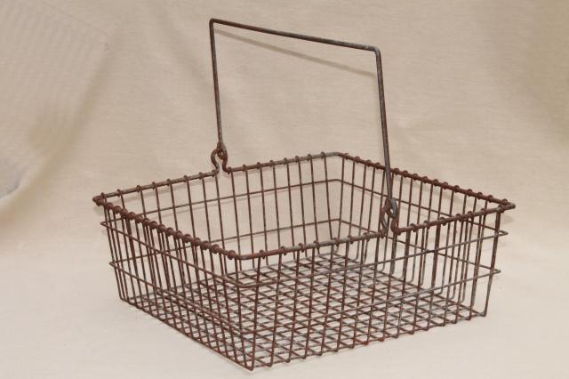 Vintage Wire Basket Square Metal Parts Bin Tool Box W Handle