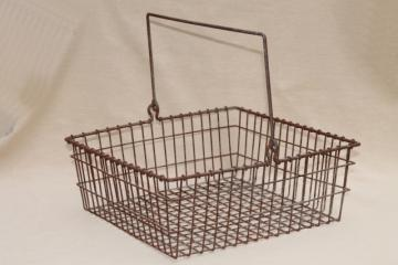 vintage industrial wire basket, square metal parts bin tool box w/ handle