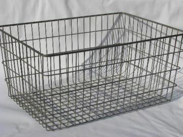 Good Vintage Industrial Wire Basket Storage Bin, Retro Modern Factory Machine Age