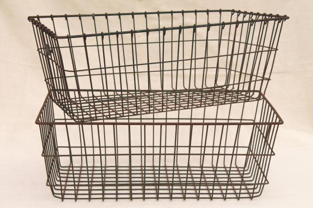 Vintage Industrial Wire Baskets, Storage Bins W/ Numbered Locker Basket Tag