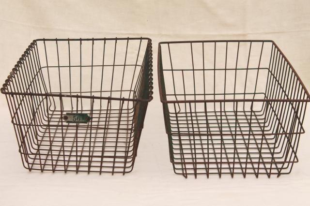 vintage industrial wire baskets storage bins w/ numbered locker basket tag & vintage industrial wire baskets storage bins w/ numbered locker ...