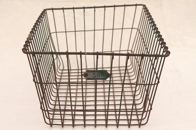 Vintage Wire Baskets Storage Bins W Numbered Locker Basket Tag
