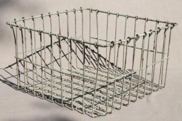vintage industrial wire locker basket or storage bin with shabby old paint