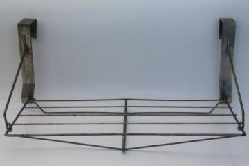 vintage industrial wire rack hat shelf, over the door hanging shelf coat rack