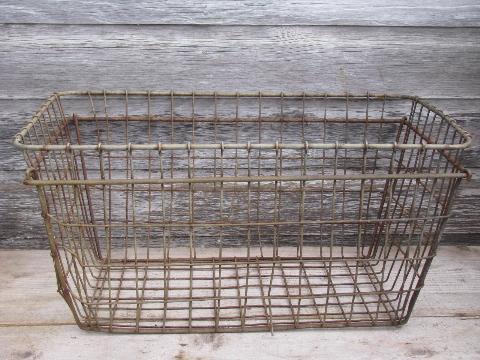 Great Vintage Industrial Wire Storage Bin, Large Primitive Wirework Laundry Basket