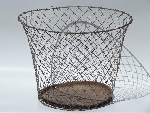 vintage industrial wire wastebasket, shabby old wire work basket for shade?