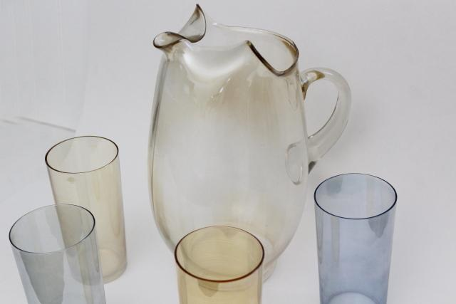 vintage iridscent glass lemonade set pitcher tumblers drinking glasses w/ luster in amber & blue