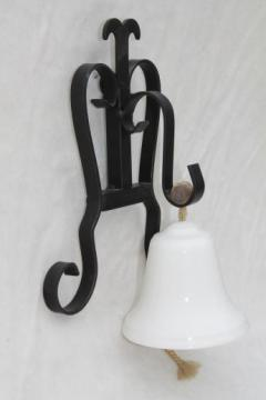 vintage iron bracket china bell, wall mount doorbell or shopkeeper's service bell