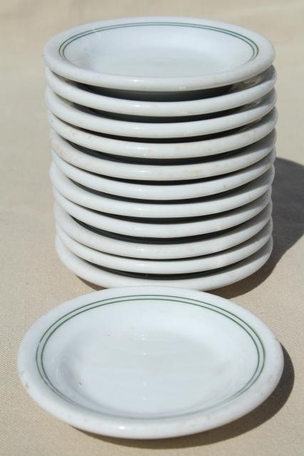 vintage ironstone butter pats, set 12 tiny butter pat plates, green band restaurant china