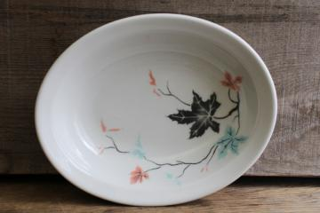 vintage ironstone china bowl, art deco style leaves in blush pink & mint green