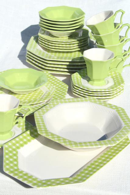 vintage ironstone china dinnerware green u0026 white gingham checked dishes 1970s Japan  sc 1 st  Laurel Leaf Farm & vintage ironstone china dinnerware green u0026 white gingham checked ...