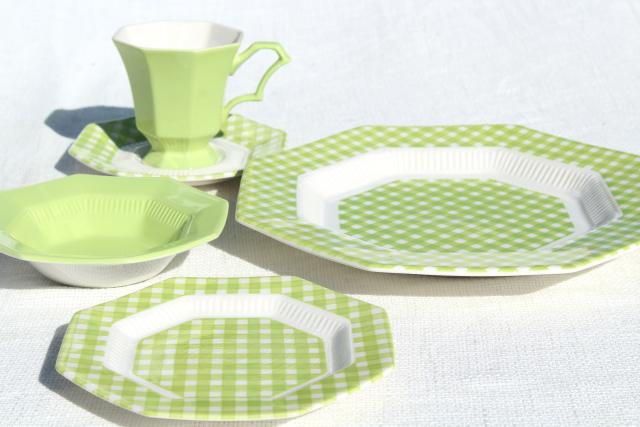 vintage ironstone china dinnerware green \u0026 white gingham checked dishes 1970s Japan & vintage ironstone china dinnerware green \u0026 white gingham checked ...