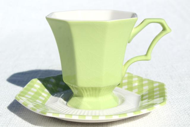 vintage ironstone china dinnerware, green & white gingham checked dishes 1970s Japan