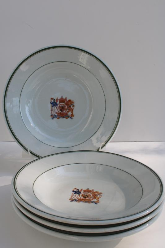 vintage ironstone china dishes The Nelson coat of arms emblem soup bowls
