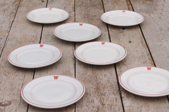 & vintage ironstone china plates w/ W monogram letter mid-century modern