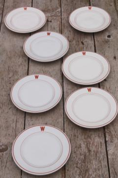 vintage ironstone china plates w/ W monogram letter, mid-century modern