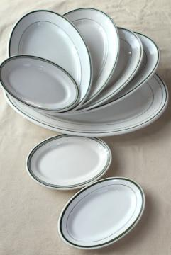 vintage ironstone china platter collection, large & small oval platters green band on white